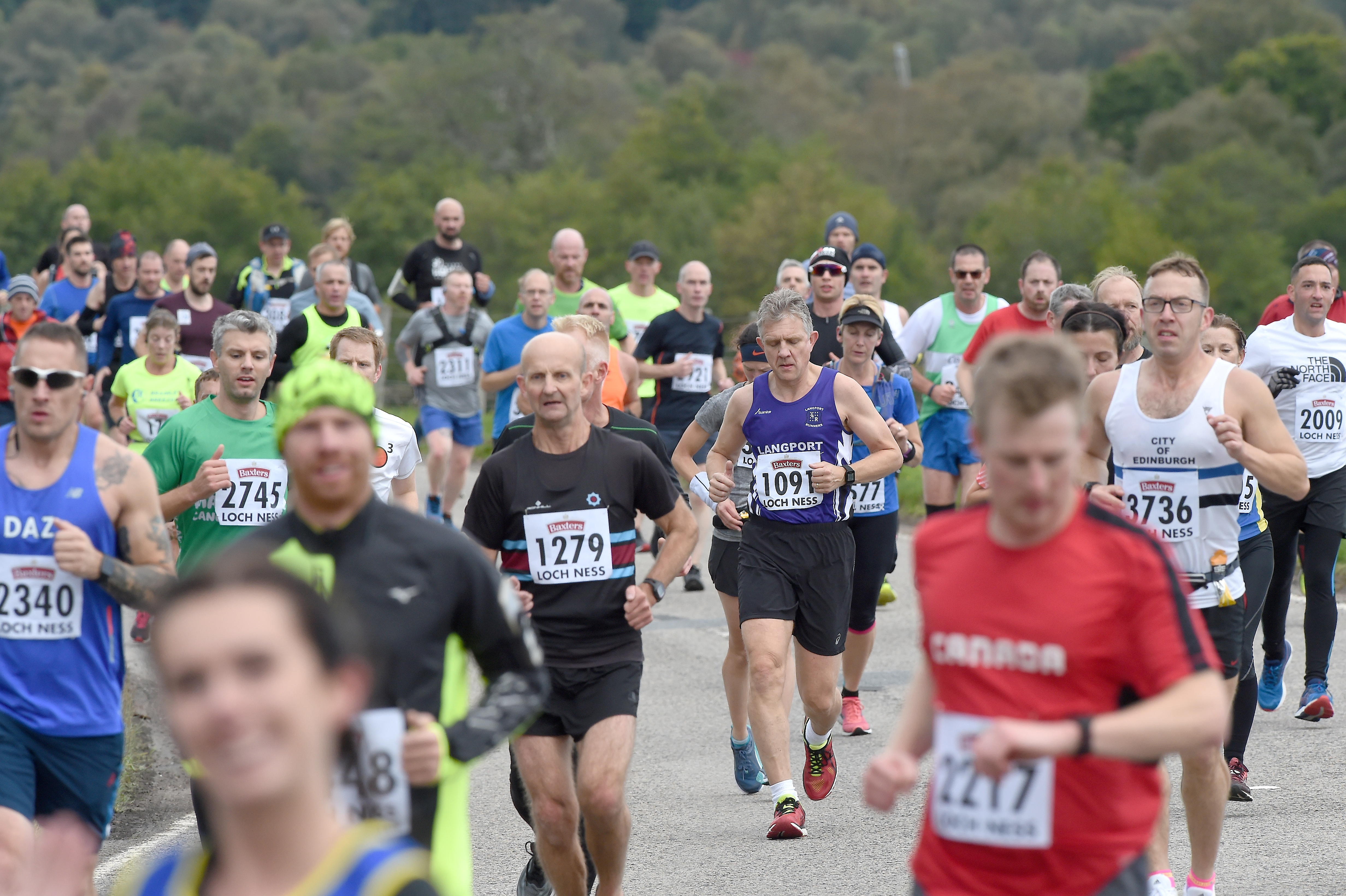 The Loch Ness Marathon in 2018. The runners make their way towards Foyers having passed Whitebridge. Picture by Sandy McCook