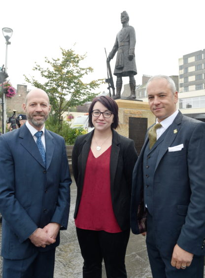 Creators of the statue from Black Isle Bronze, based in Nairn (L-R) Robin Astley, Leona Busza and Managing Director Farquhar Laing. Picture by Sandy McCook