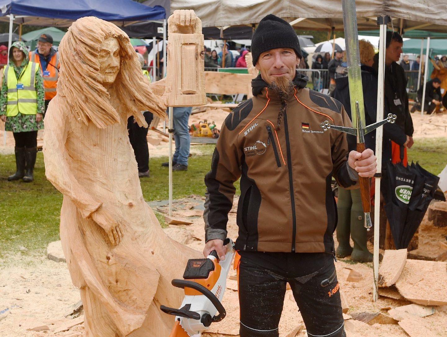 Michael Tamoszus of Germany with his creation 'Lady with Light' as he won the competition for the second year. Pictures and video by Sandy McCook