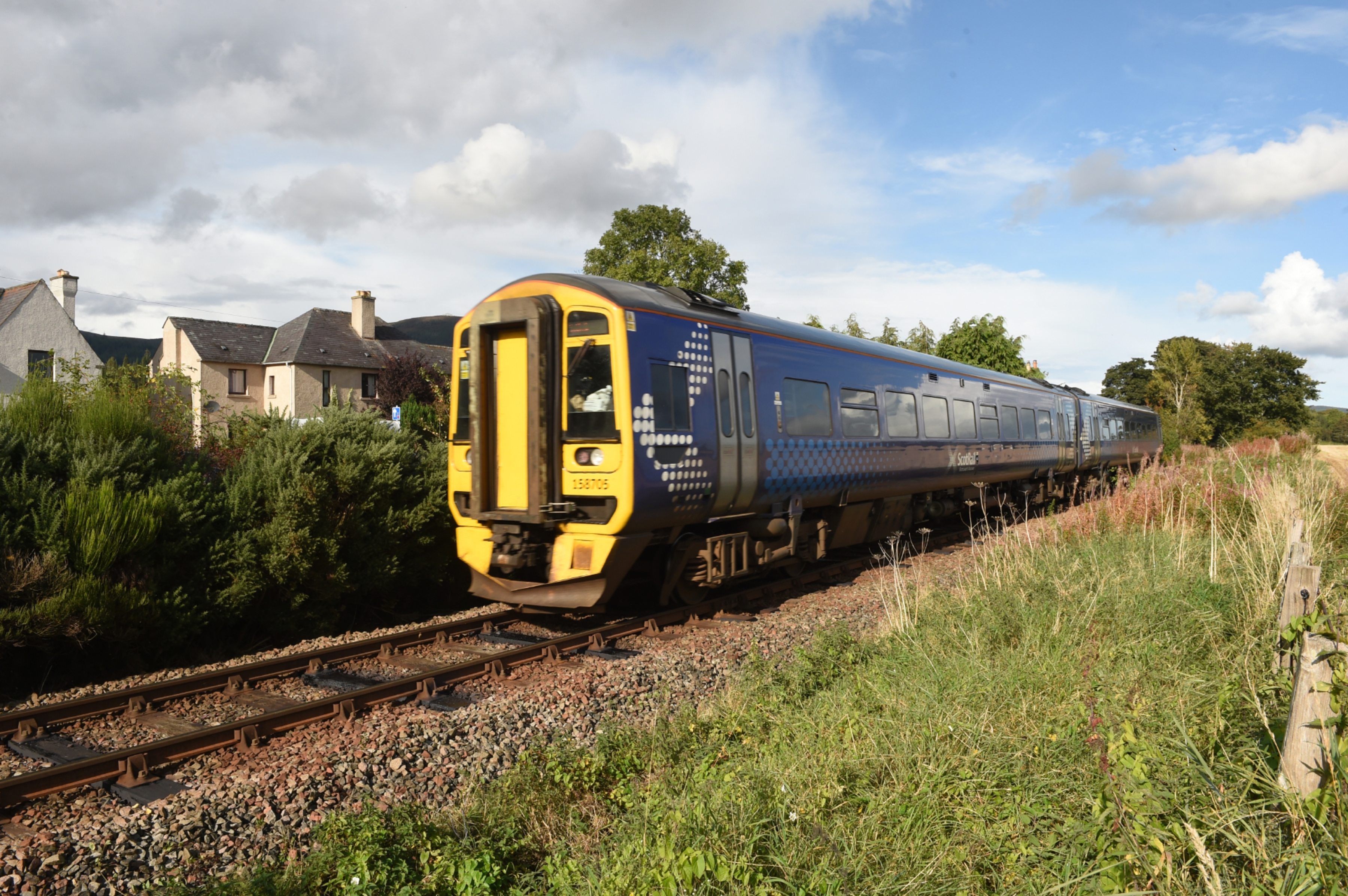 A train going past where the old station was at Evanton, in Ross-shire.  Pictures by Sandy McCook