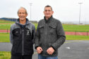 PAUL GREENALL (R) WITH GRAHAM CLARK, CHAIRMAN OF THE SOUTH LINKS SPORTS  DEVELOPMENT TRUST, AT THE BROCH RUNNING TRACK.