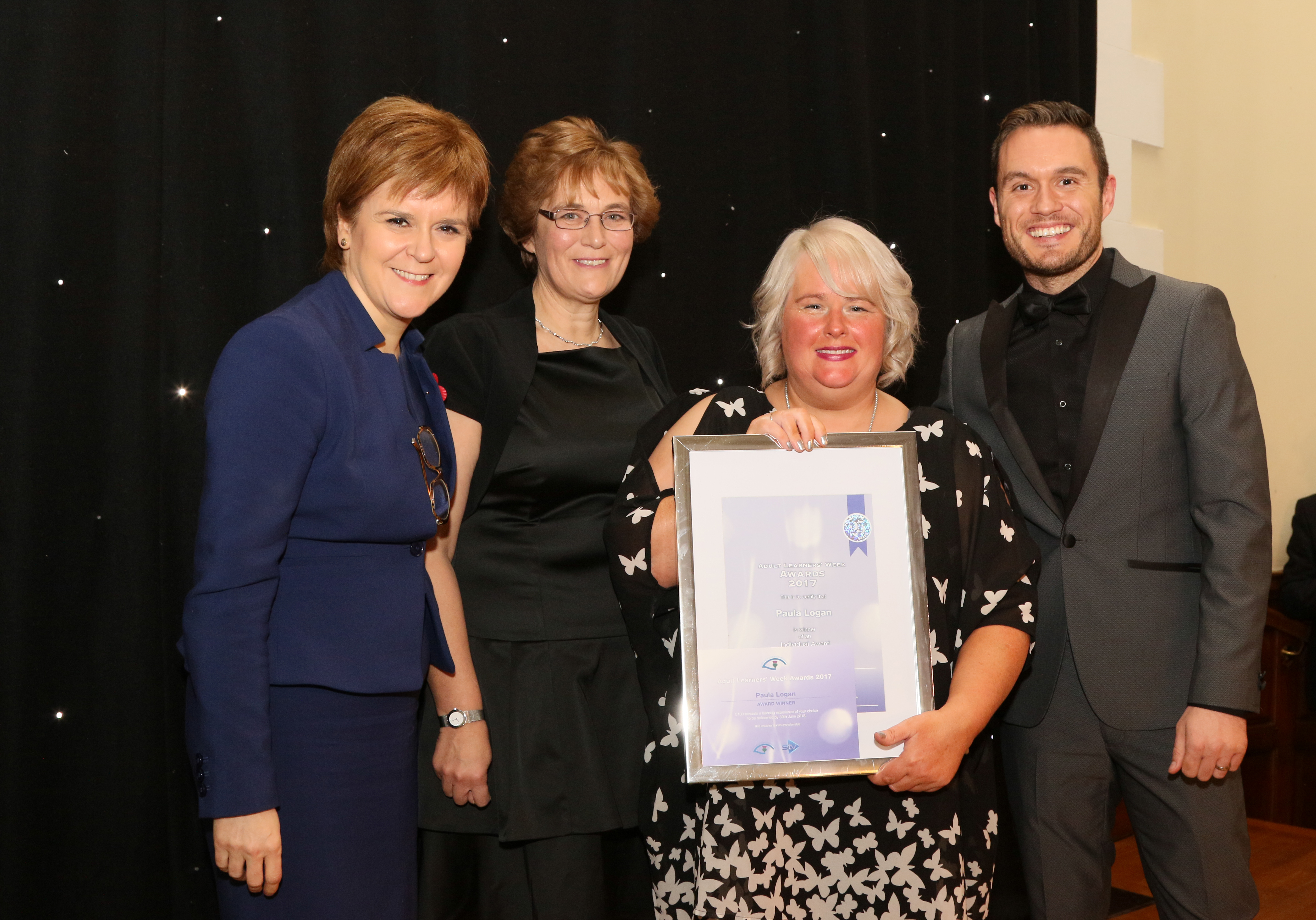 Paula Logan with First Minister Nicola Sturgeon, Moira Strathdee, Paula and Jordan Young from the BBC's River City.