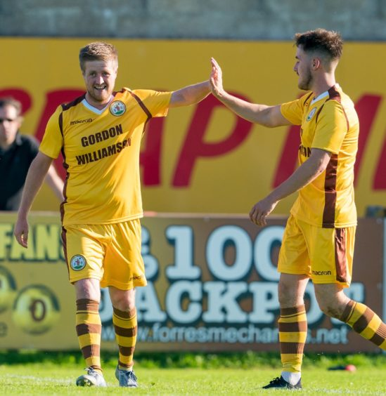 Forres Robert Duncanson celebrates the goal