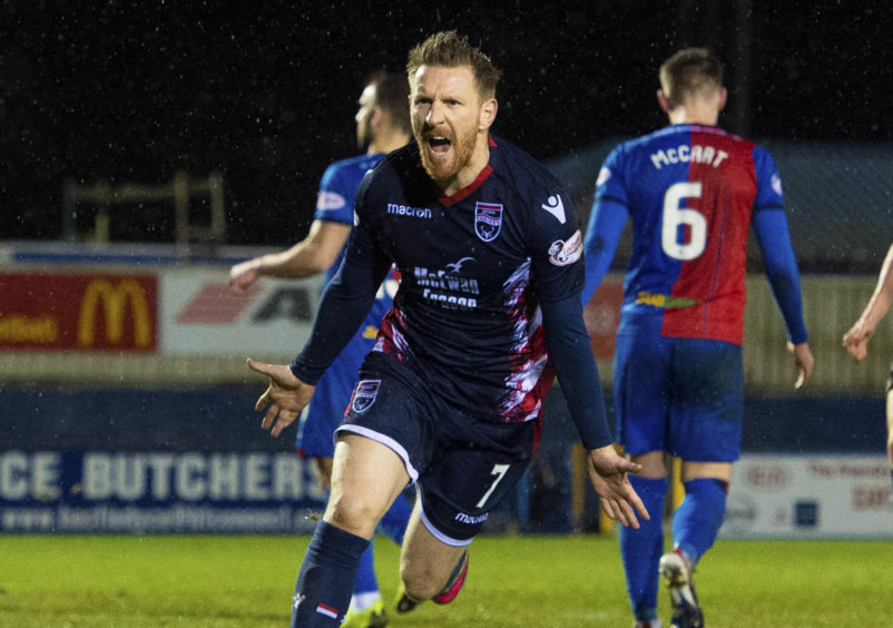 Michael Gardyne scores for Ross County against Inverness.
