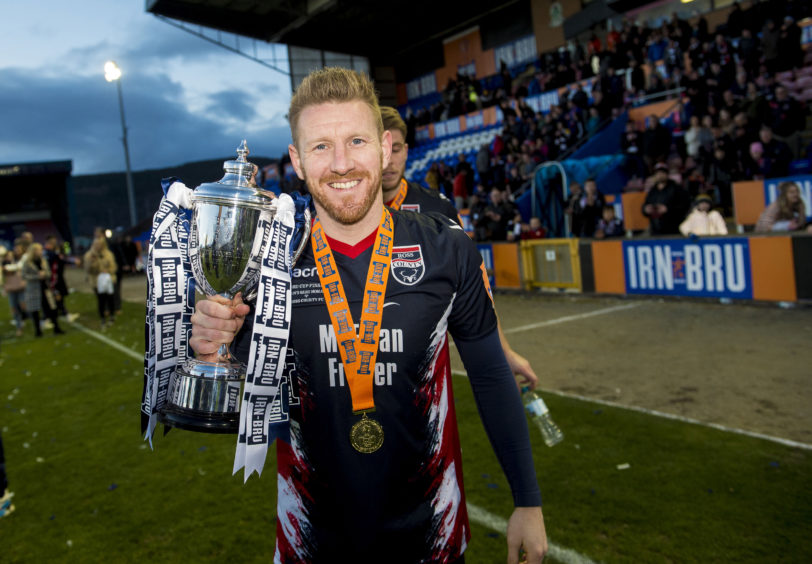 Irn-Bru Cup Final Connah's Quay Nomads v Ross County Ross County's Michael Gardyne at full time
