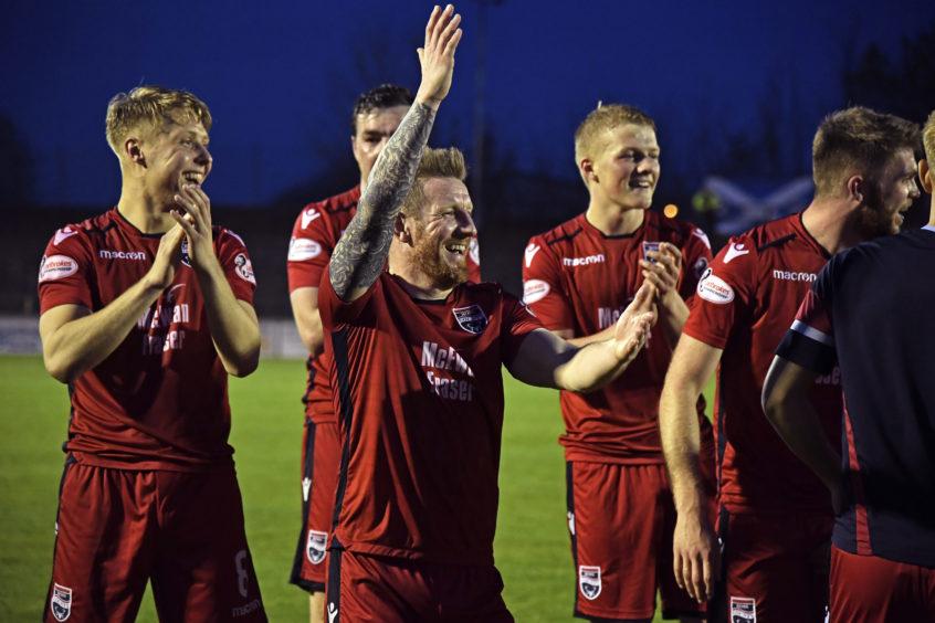 Ladbrokes Championship Ross County v Ayr United.  Ross County's Michael Gardyne celebrates his sides victory