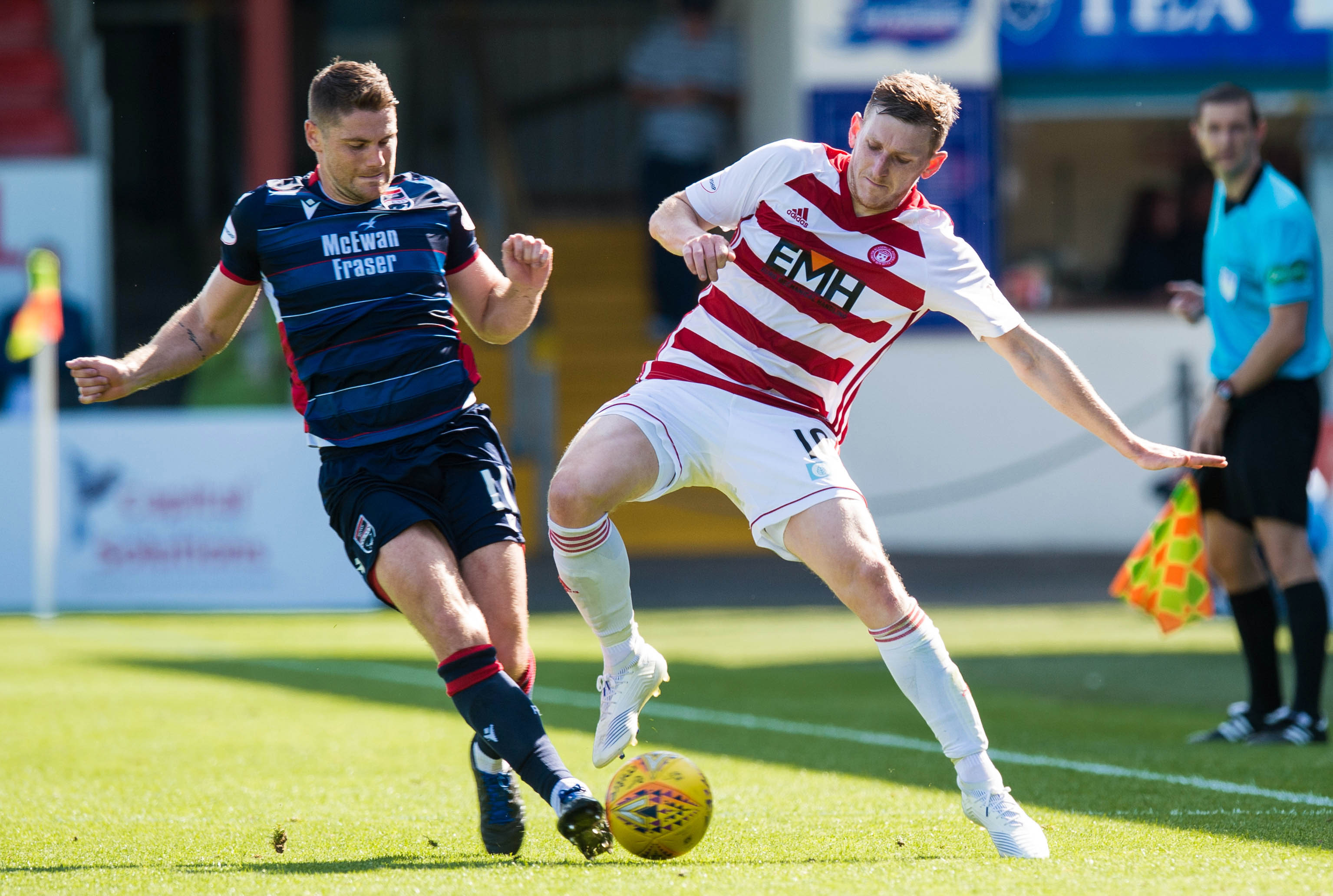 03/08/19 LADBROKES PREMIERSHIP ROSS COUNTY v HAMILTON ACADEMICAL (3-0) GLOBAL ENERGY STADIUM - DINGWALL Hamilton's Blair Alston (R) contests with Ross County's Iain Vigurs