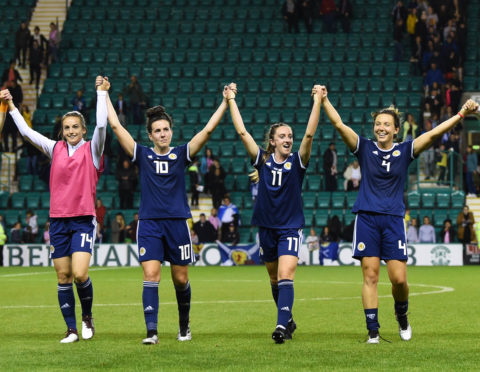 The Scotland players celebrate towards the fans at full time of the UEFA Women's 2021 qualifier between Scotland and Cyprus