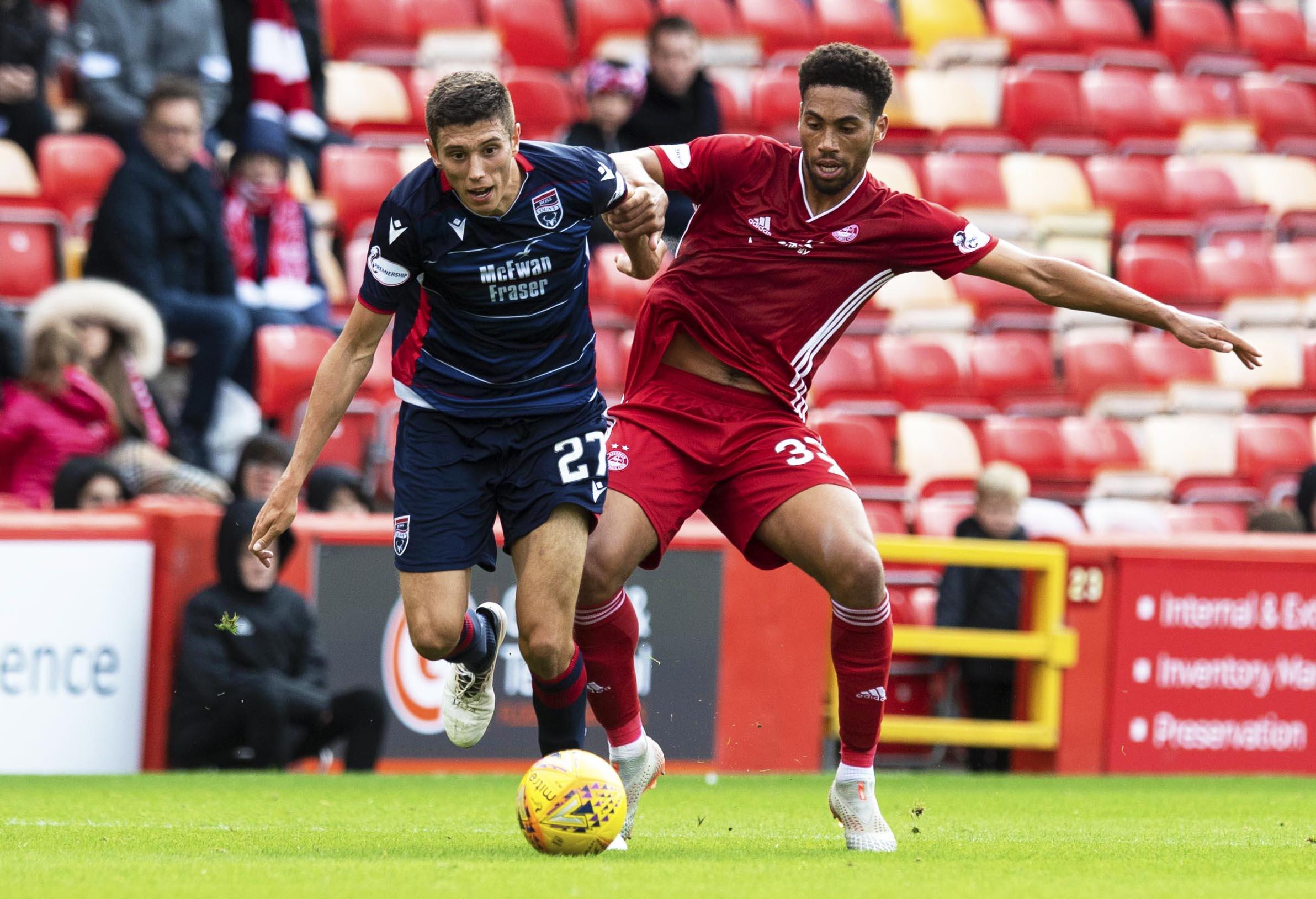 Ross County striker Ross Stewart in action against Aberdeen.