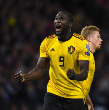 GLASGOW, SCOTLAND - SEPTEMBER 9:  Romelu Lukaku celebrates his first goal during a UEFA Euro 2020 qualifier between Scotland and Belgium, at Hampden Park, on September 9, 2019, in Glasgow, Scotland. (Photo by Craig Williamson / SNS Group)