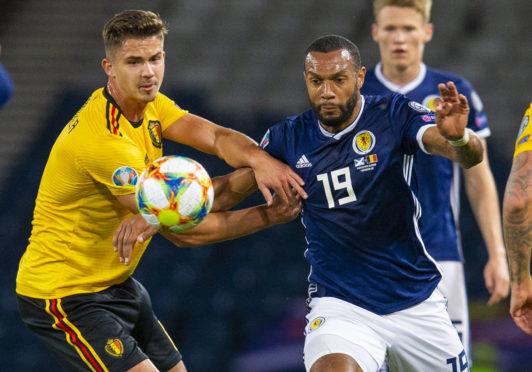 GLASGOW, SCOTLAND - SEPTEMBER 9: Scotland's Matt Phillips (right) battles with Belgium's Leandre Dendoncker during a UEFA Euro 2020 qualifier between Scotland and Belgium, at Hampden Park, on September 9, 2019, in Glasgow, Scotland. (Photo by Bruce White / SNS Group)