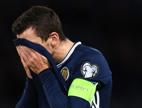 Andrew Robertson during a UEFA Euro 2020 qualifier between Scotland and Belgium, at Hampden Park.