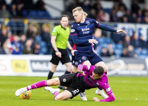 DINGWALL, SCOTLAND - SEPTEMBER 14: St. Mirren's Paul McGinn in action during the Ladbrokes Premiership match between Ross County and St. Mirren at the Global Energy Stadium September 14, 2019 in Dingwall, Scotland. (Photo by Roddy Scott / SNS Group)