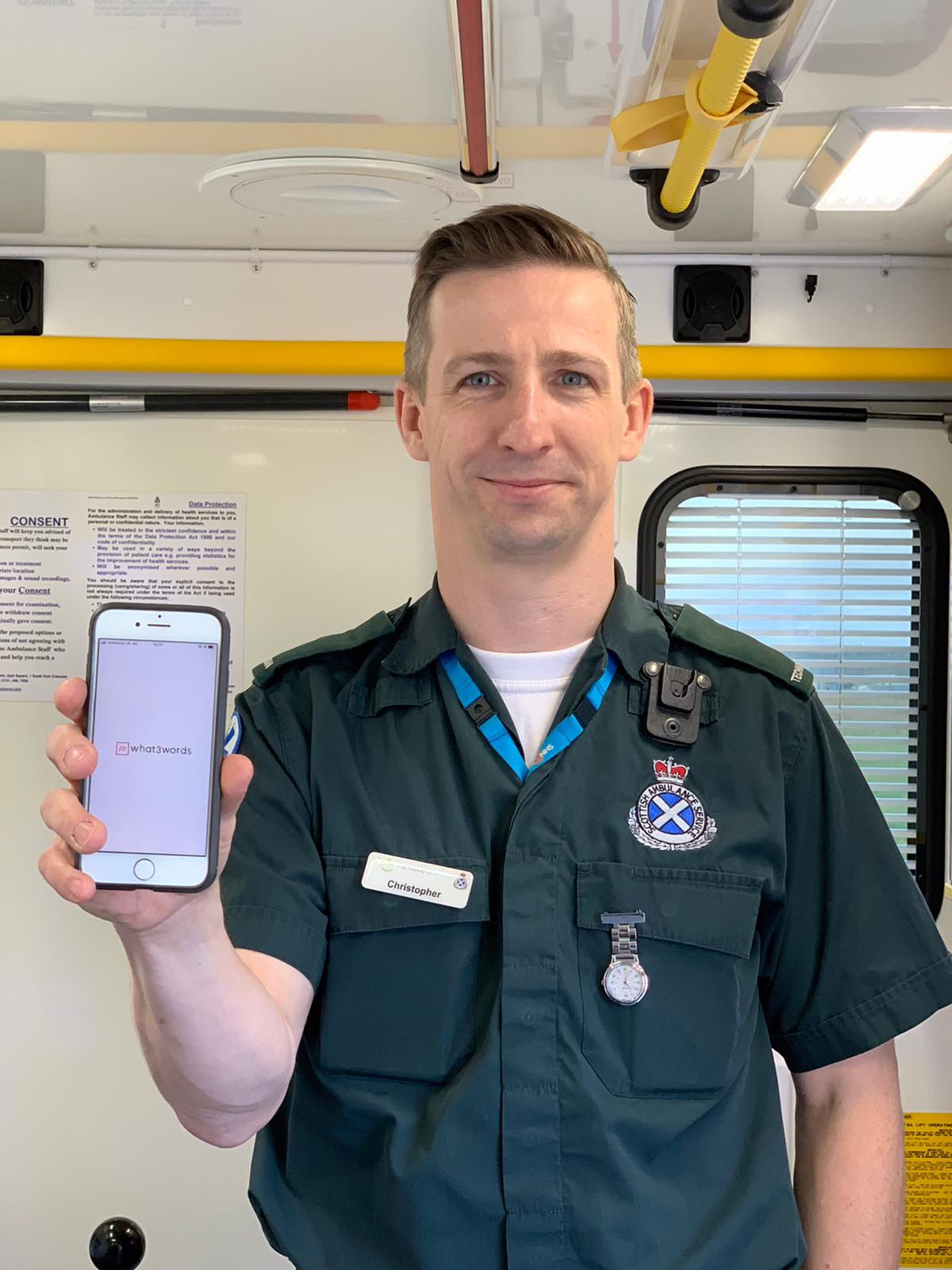 Stornoway based ambulance technician Christopher Adams is encouraging others to download the what3words app as it proved invaluable in a recent rescue in the Western Isles
