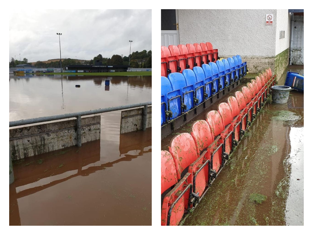 The aftermath of flooding at Turriff United's stadium