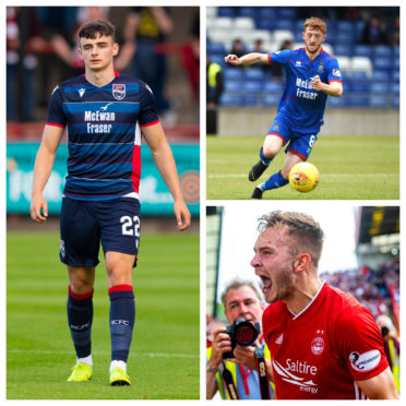 Ross County's Simon Power (left), Caley Thistle's David Carson (top right) and Aberdeen's Ryan Hedges.
