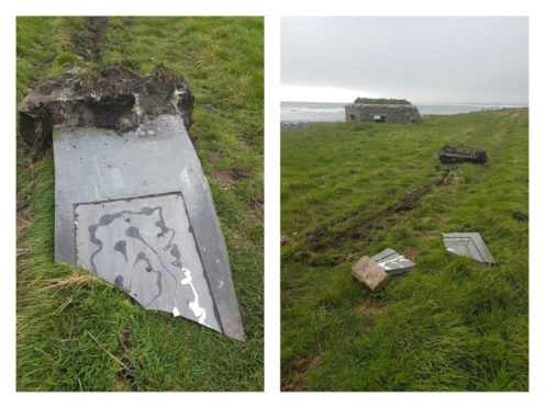 The standing slab of Caithness flagstone at Keiss Brochs was found knocked over and shattered into pieces,