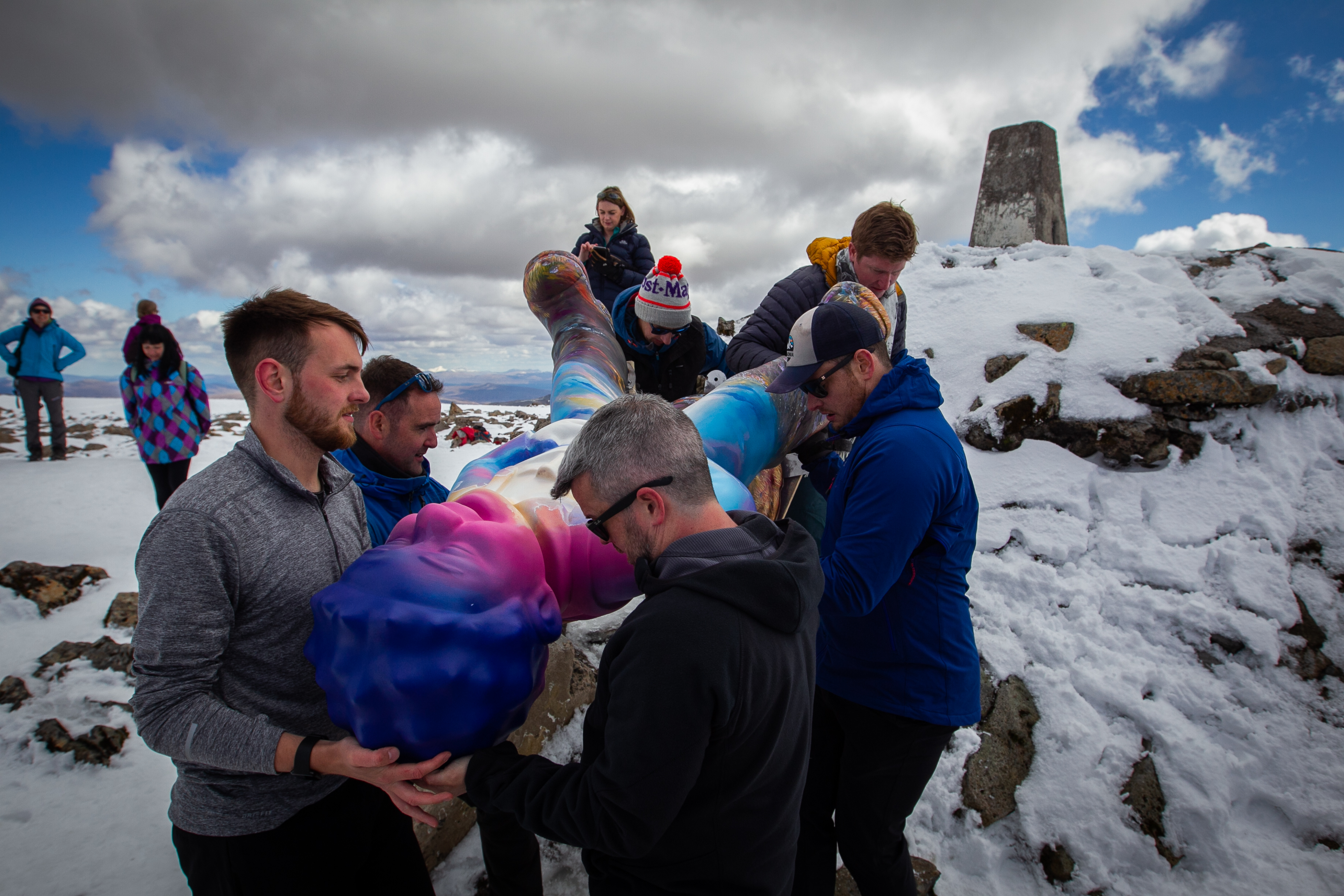 The 13-strong team carried Wullie to the summit of Ben Nevis