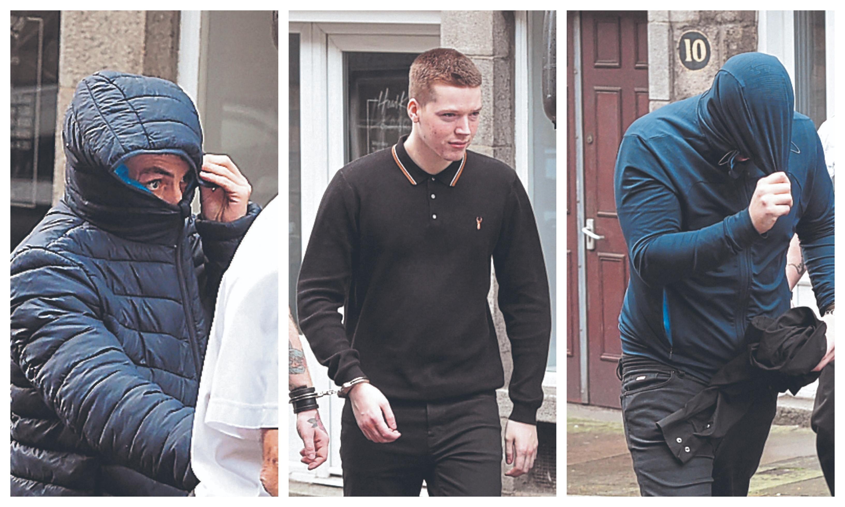 Martin Gemmell, Brandon Douglas and Brandon Wilson at court.