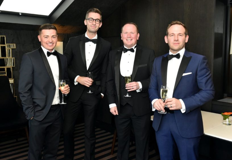 VIP Guests (from left) Gary Harris, Ben Thompson, Ian Milne and Ryan Imlah. Picture by COLIN RENNIE