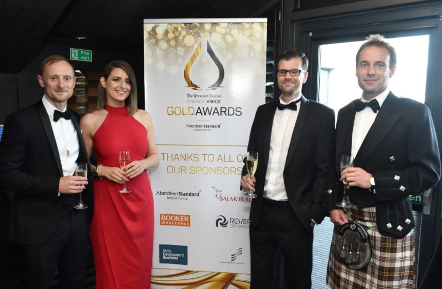 VIP Guests (from left) Andrew and Niki Fraser, Chris Smith and Stuart Hay.  Picture by COLIN RENNIE