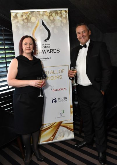 VIP Guests (from left) Claire Kinloch and Gary Yeoman. Picture by COLIN RENNIE