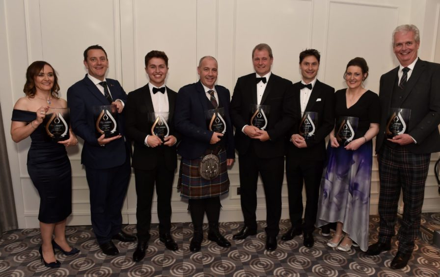Winners (from left) Health and Safety Award, Jade Crotty; Renewables Award, Kevin Jones; Apprentice, Craig Morgan;  Small Company of the year, Kirk Anderson; Large Company of the Year, Donald Taylor; Innovation, Tristam Horn; Dr Mildred Desselhaus, Kerrie Murray; Industry Leader, Ian Phillips. Picture by COLIN RENNIE
