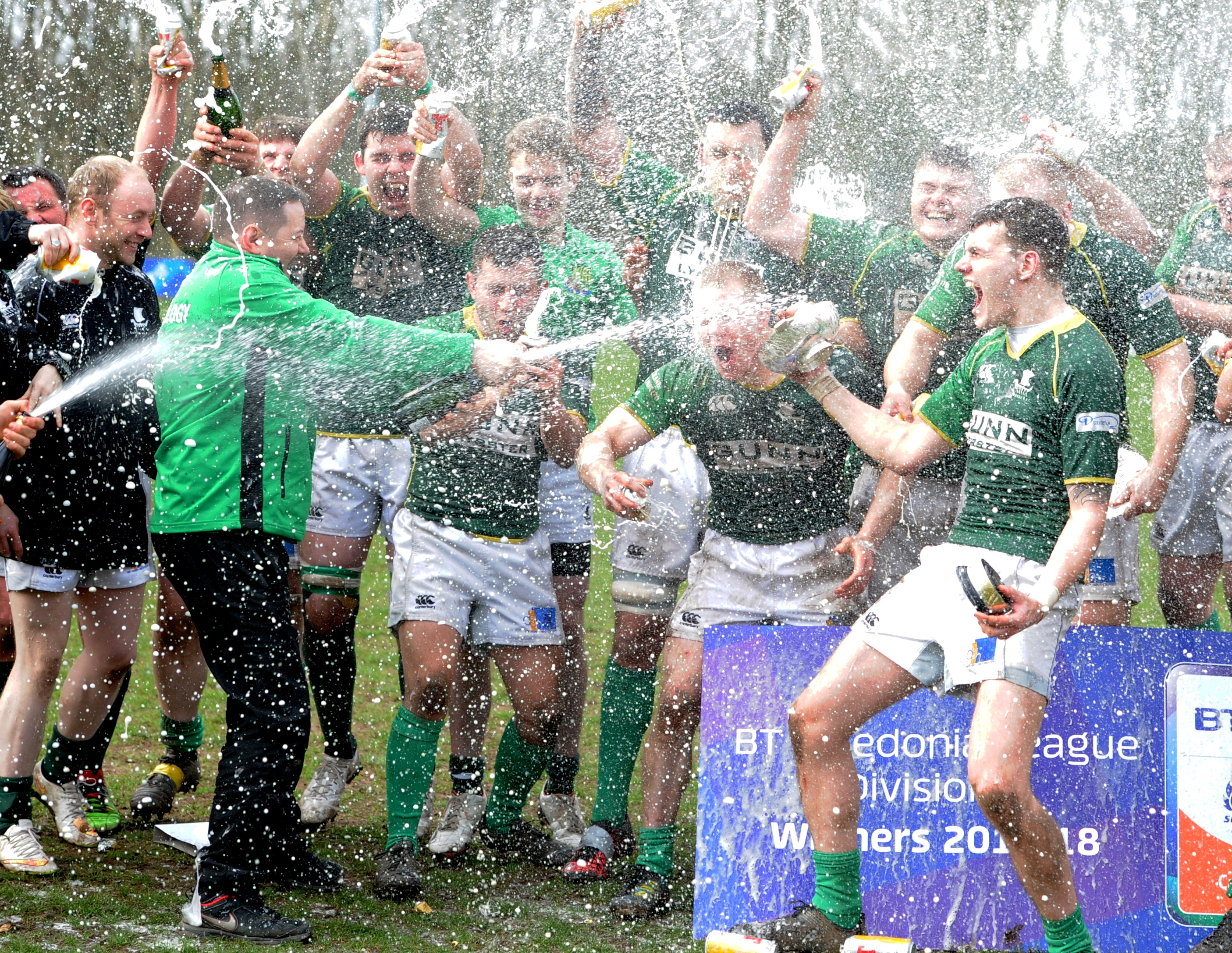 Rugby Strathmore v. Caithness at Forfar. Caithiness Rufc won the league and they celebrate. Picture by COLIN RENNIE   April 14, 2018.
