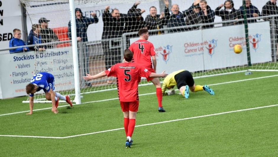 Cove's second goal scored by Matthew Smith. Picture by COLIN RENNIE