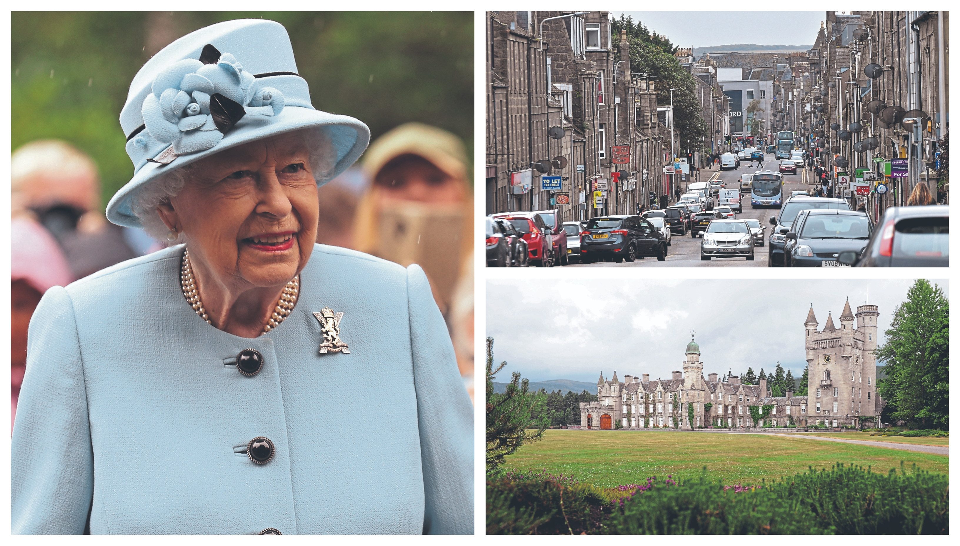 Police vowed to carry out high-visibility patrols of George Street in Aberdeen, top right, but security for the Queen's stay at Balmoral has taken priority.