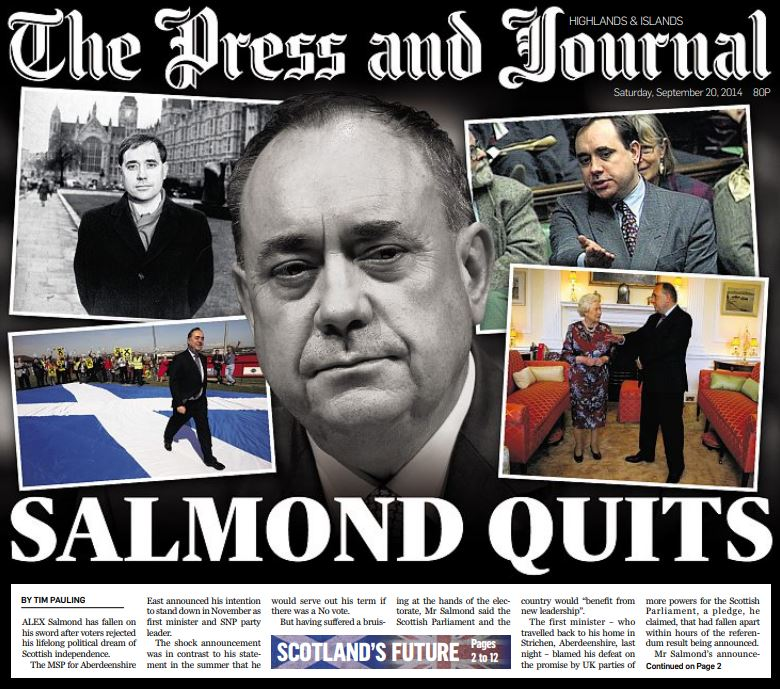 The front page of the Press and Journal on September 20, 2014.