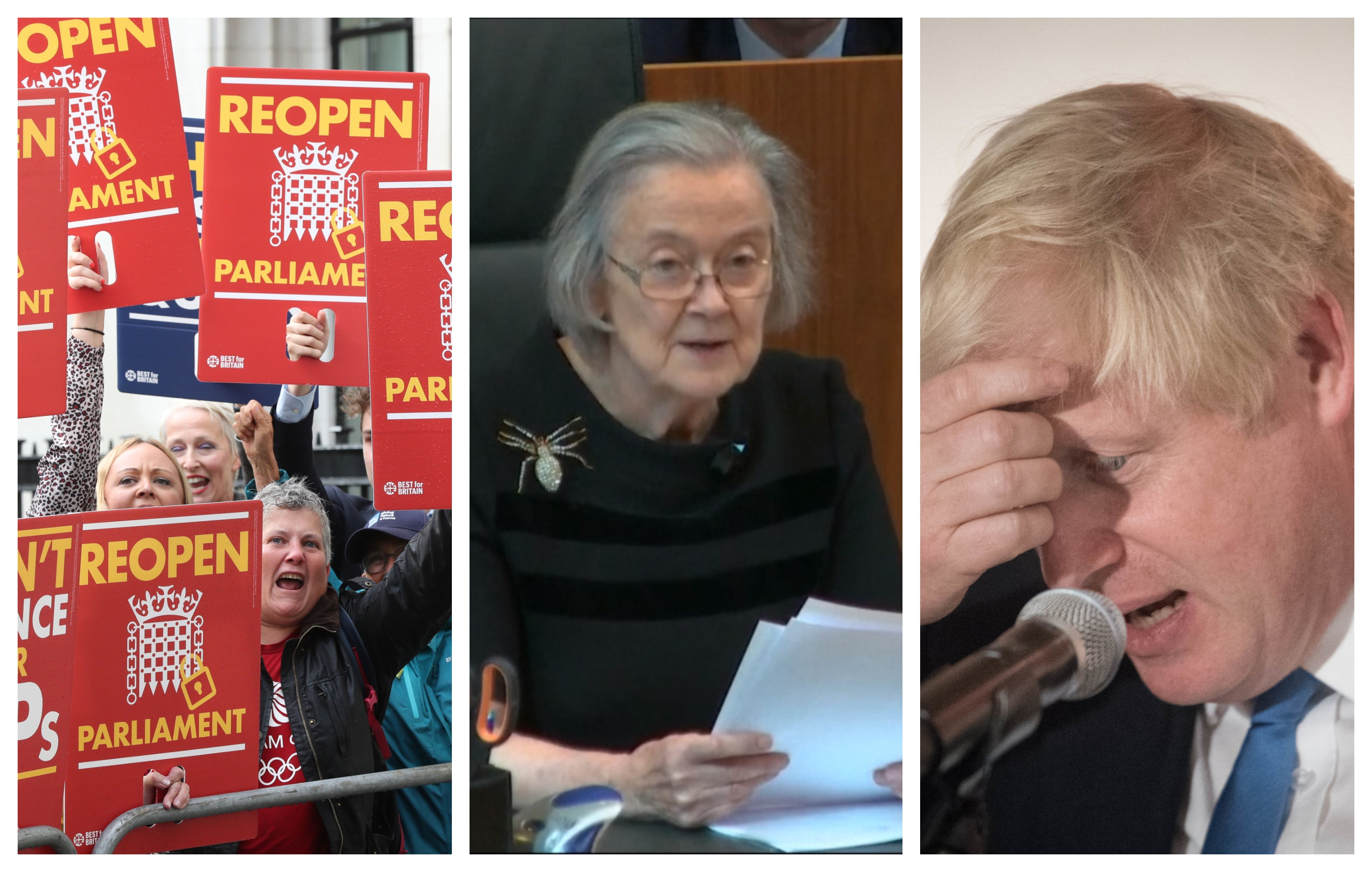 Protesters outside the Supreme Court today (left), Lady Hale delivering the ruling and Boris Johnson (right).