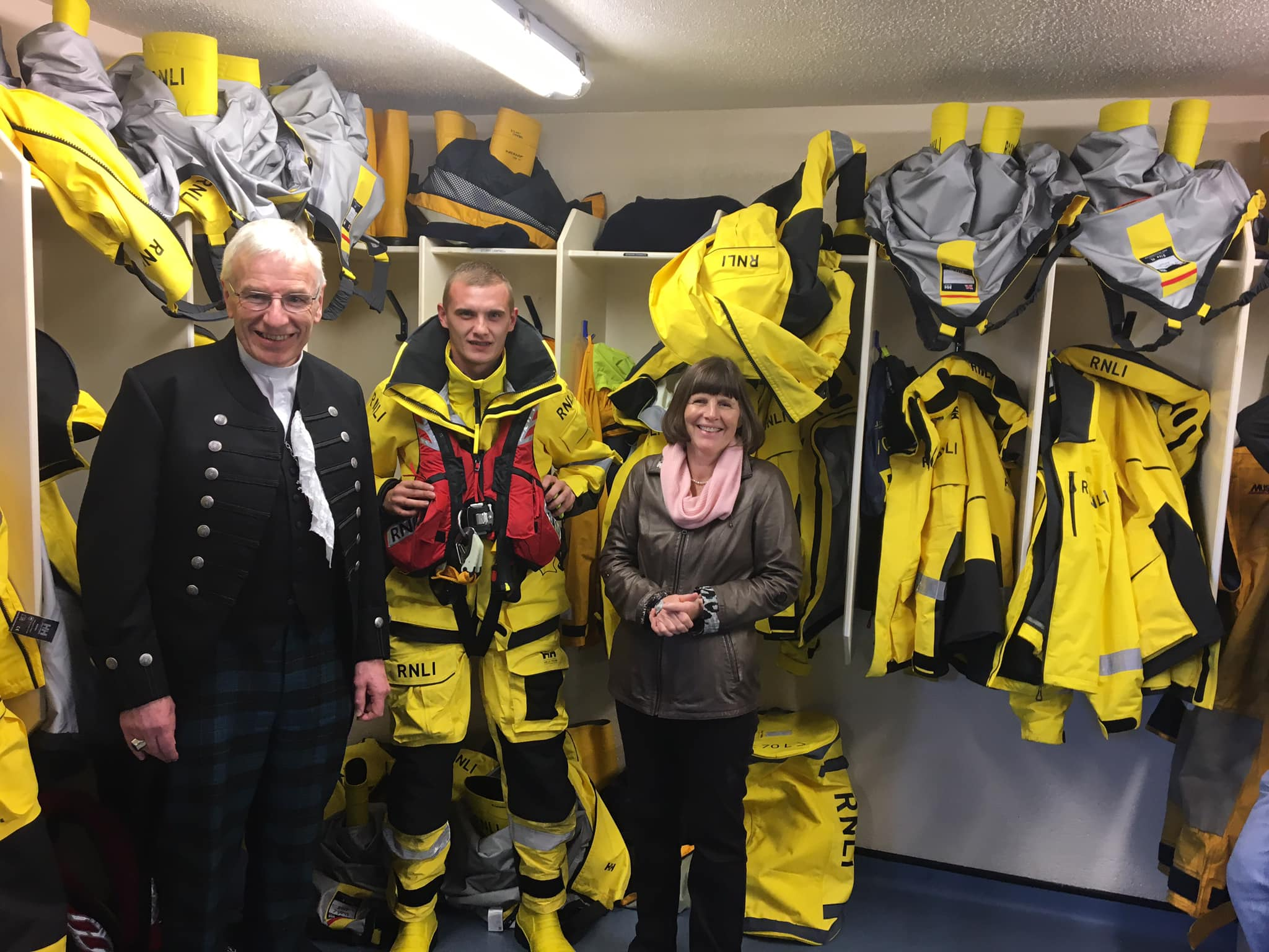 Rt Rev Colin Sinclair, and his wife Ruth, visited Wick Lifeboat Station, during the visit he met crew member Martin Gibson.