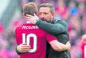 Aberdeen manager Derek McInnes embraces Niall McGinn.