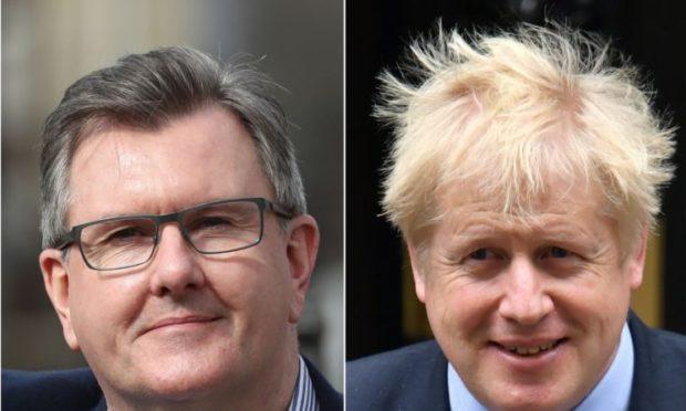 Sir Jeffrey Donaldson and Boris Johnson (Niall Carson/Dominic Lipinski/PA)