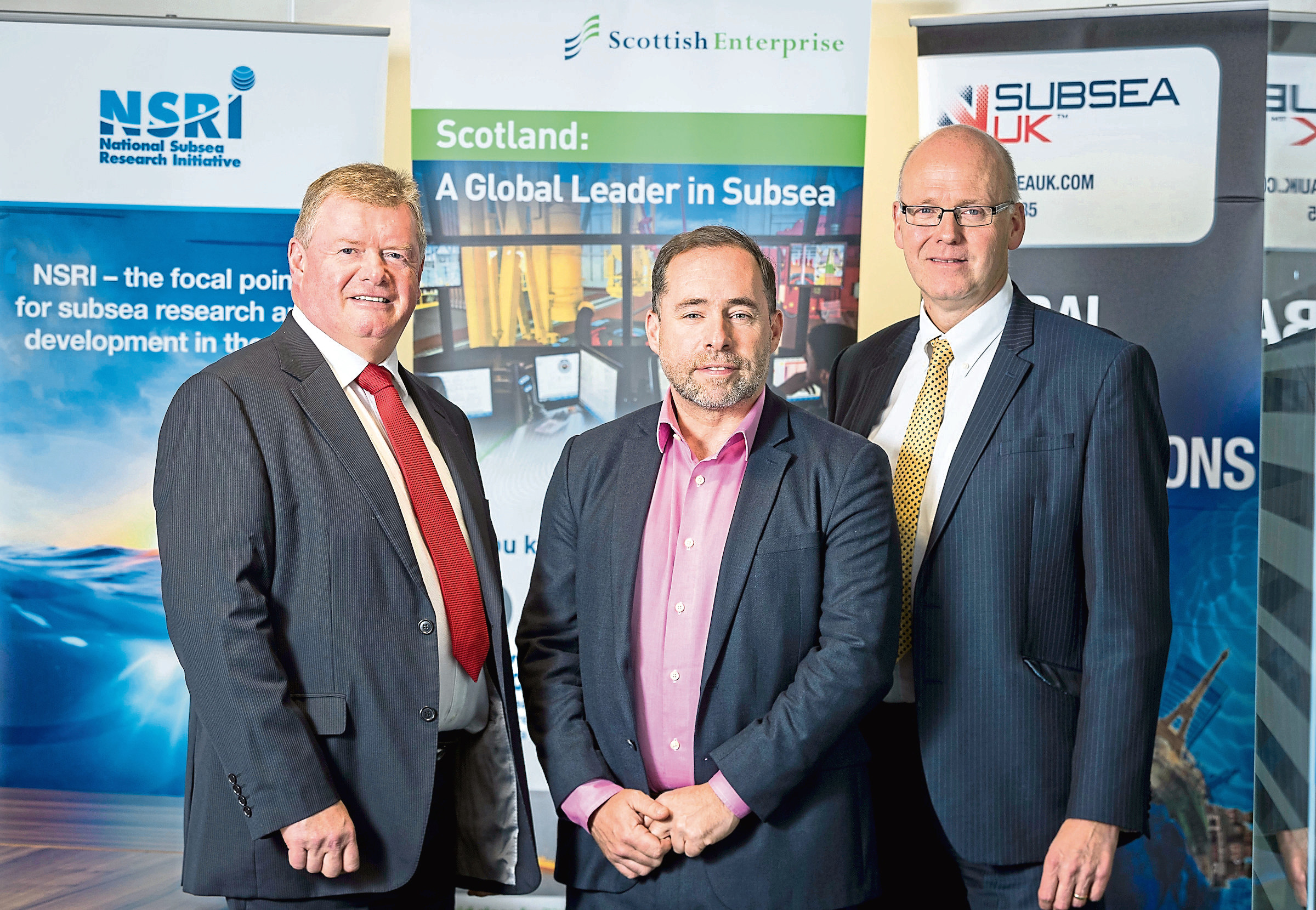 L- R: Tony Laing of NSRI, David Rennie of Scottish Enterprise and Neil Gordon of Subsea UK.  Picture from Subsea UK