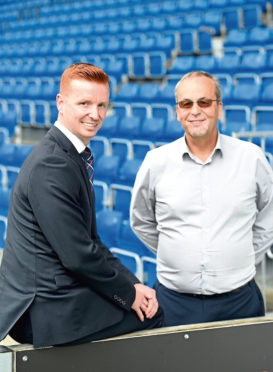 Picture by SANDY McCOOK    20th June '19 Scott Boyd, former player and now Sporting Director of Ross County is introduced by Chairman Roy MacGregor.