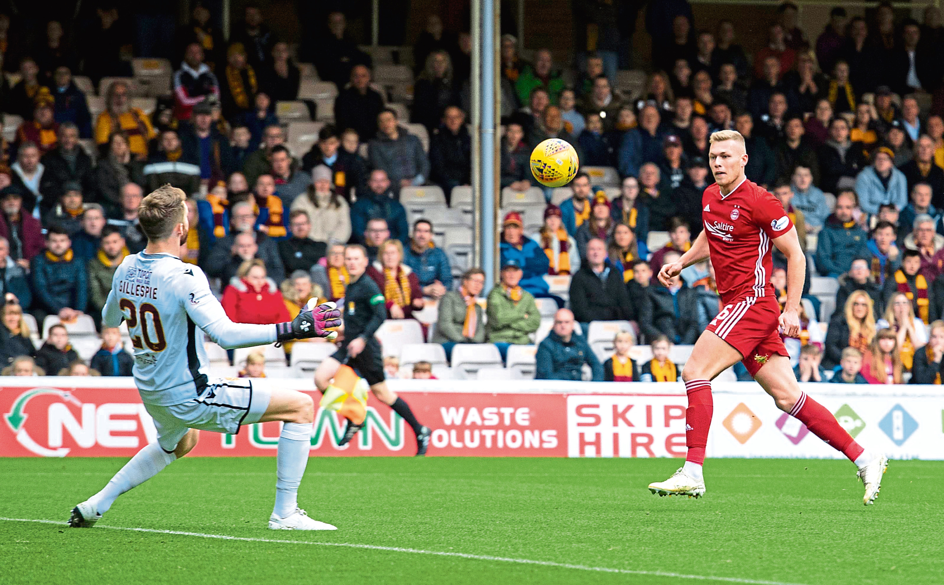 Sam Cosgrove is pictured making it 1-0 to Aberdeen during the Ladbrokes Premiership match between Motherwell and Aberdeen.