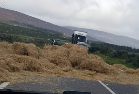 Hay on the road as traffic is held up on the A9.