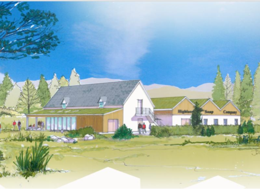 An artist's impression of the Highland Soap Company building to be built on land near the A82 in Fort William.