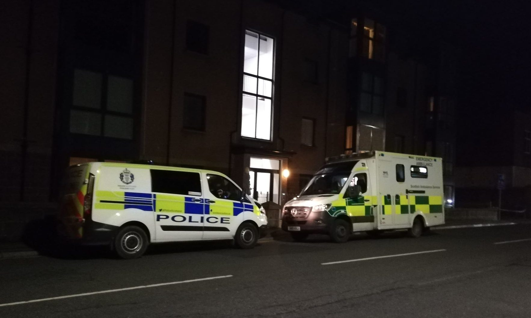 Police and ambulance crews on site in Peterhead.