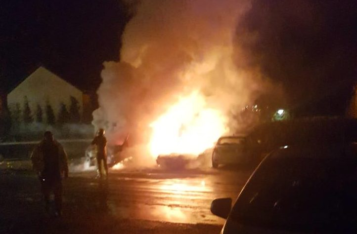 The scene on Aird Avenue in the early hours of Saturday morning. Picture by Tracey Flynn