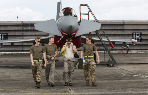 Typhoon pilots from RAF Lossiemouth are training in Malaysia ahead of an international military exercise.