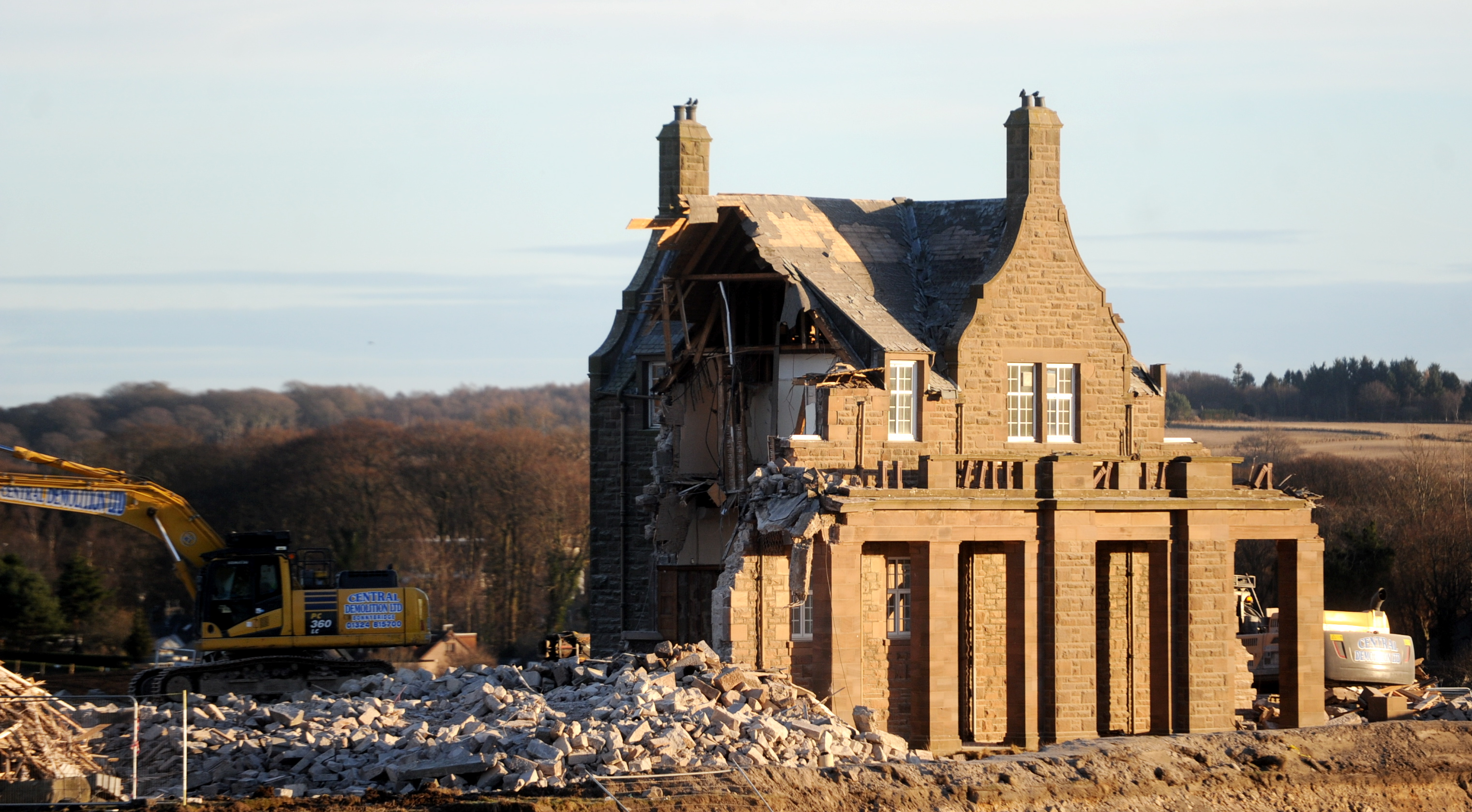 Picture of the demolition of Strathcona House, Bucksburn, in 2017. Picture by Chris Sumner