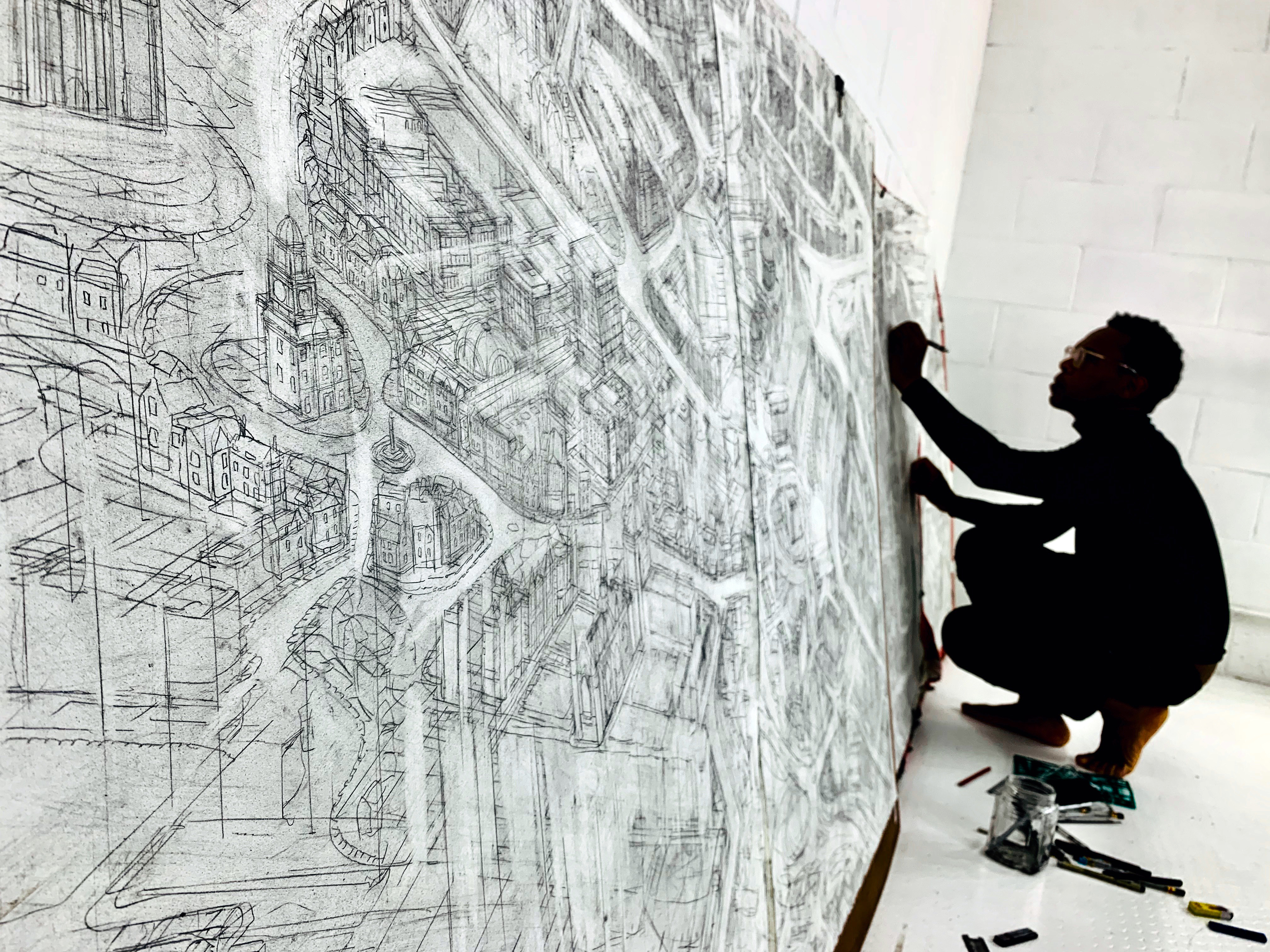 Carl Lavia and Lorna Le Bredonchel are in the midst of producing a large-scale ink portrait of Aberdeen as part of their 'Sketchnthecity' initiative.
