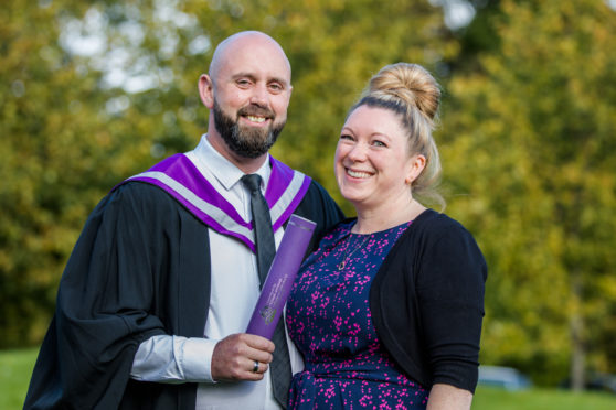 Graduate Alastair Watt is pictured with his wife Jane, a former graduate of North College/UHI