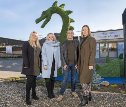 Jacqueline Brown of Munro & Noble, Chairwoman of the Highland Fundraising Board Mary Nimmo, Ronald and Debi Mackenzie of Cruise Loch Ness outside the Highland Children's Unit.