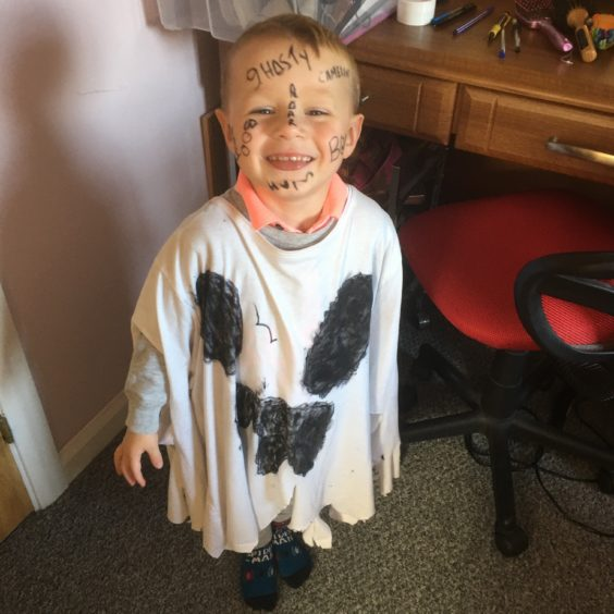 Cameron Thomas Foley, aged 3 years and 10 months, is from Huntly. He enjoyed his first Halloween nursery party today.