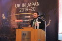 Councillor Struan Mackie delivering a speech at the British Embassy in Tokyo