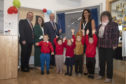 L-R: Laurence Findlay, Councillor Rosemary Bruce, Councillor Bill Howatson, Bervie School Head Teacher Heather Grant and Councillor Gillian Owen with a selection of pupils.